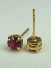 STUNNING AFRICAN RUBY (RND) STUD EARRINGS 1.00ct 925 SS 14K GOLD OVERLAY