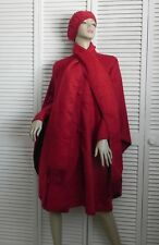 New Womens SZ L Red Alpaca Wool Cloak Cape Ethnic Poncho Scarf Beret Hat PERU