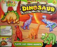 Dinosaur Mould & Paint Plaster Activity Kit Craft Art Set Make 6 Fridge Magnets