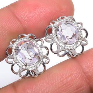 "Madagascar Rose Quartz & CZ 925 Sterling Silver Earring Jewelry 0.7"" F2544"