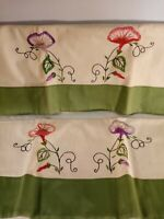Handmade Embroidered Pillowcase set Standard Green Rose Vintage Style