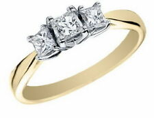 0.80 Cts Princess Cut Natural Diamonds Three-Stone Anniversary Ring In 14K Gold