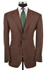 Enrico Isaia Napoli Brown Super 120s Check Patch Pocket Blazer Coat Jacket 40 R