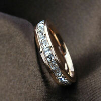 Sz3-10 Wedding Silver/Rose Steel Titanium Ring Men/Womens Gold CZ Band Stainless
