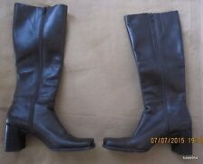 Womens Ladies Juniors Nine West Zip Up Brown Leather Boots Wooden Heel 6 M