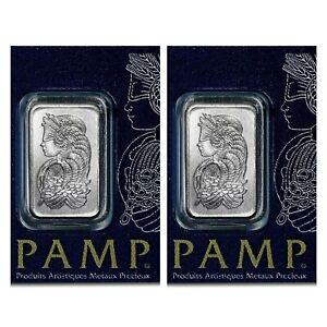 LOT 2 X 1 GRAM PAMP SUISSE .9995 PURE PLATINUM LADY FORTUNA BAR ASSAY MULTIGRAM
