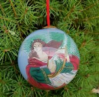 """Inside Painted 3"""" Christmas Ornament Hand Painted Blown Glass Christmas Angel"""
