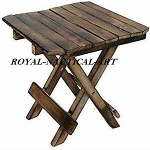 Small Folding Side Table Outdoor Patio Balcony Coffee Garden Wooden Furniture