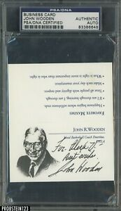 John Wooden Signed Business Card AUTO UCLA Head Coach PSA/DNA Authentic