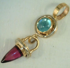 BULLET SHAPED! 14K Two Tone Gold GARNET & TOPAZ DANGLE PENDANT 1.7 Grams ESTATE