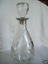 """Vintage Wine Decanter Clear Glass Bottle Liquor Rum Whiskey Bulb Top 11"""" Tall"""