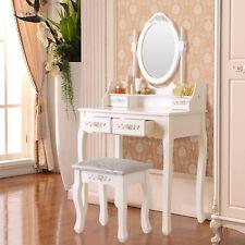 Dressing Table Makeup Vanity Desk Stool 4  Drawers Oval Mirror White Detachable