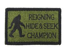 Bigfoot Reigning Hide and Seek Champion Hook & Loop Morale Tags Patch GB