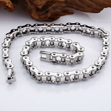 Fashion Jewelry Stainless Steel Silver Motorcycle Bike Chain Mens Necklace 21.6""