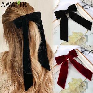 Vintage Velvet Bow Hairpin Barrette Women Wedding Long Ribbon Hair Clip Hairgrip