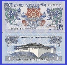 Bhutan P27, 1 Ngultrum, Palace / Dragons,2006 -COLORFULL, UNC see UV image