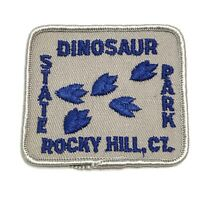 Vintage Embroidered Iron On Patch Dinosaur State Park Rocky Hill Connecticut