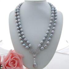 GE010809 21'' 2 Strands Grey Rice Pearl Necklace Keshi Pearl Pendant