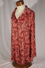 NEW Simonton Says Women's Size S Small Red Animal Print Duster/Jacket/Tunic Top