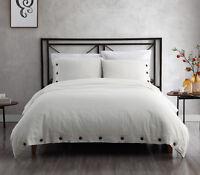 SuperBeddings Linen Cotton Duvet Cover 3 Pieces Set, 2 Pillow Shams
