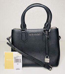 Authentic Michael Kors Adele MD Messenger Bag Black / Cement Leather