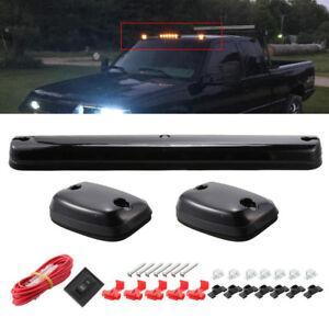 3PC Smoke Cab Roof Running Amber LED Lights For Chevy 07-13 Silverado/GMC Sierra