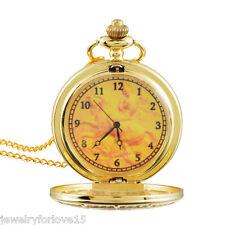 FL:Taschenuhr Quarz Ketteuhr Halskette Pulloverkette Uhren Retro Vergoldet 83cm