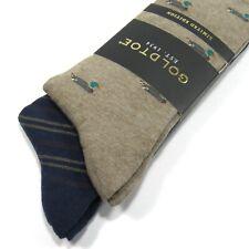 GOLD TOE Men's Socks Mallard Duck & Diagonal Repp Stripe 2 Pairs Taupe Navy