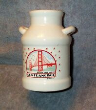 1989 White Ceramic Milk Can Bank, San Francisco Golden Gate Bridge Souvenir SNCO