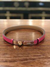 Hermes Kelly belt pink Epsom Gold Rose NEW buckle strap adjustable Constance bag