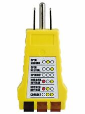 Power Gear 3 Wire Receptacle Tester, Outlet Tester, 6 Visual Indications, Light