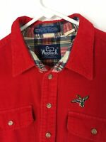Vintage Mens Woolrich Shirts Button Front Long Sleeve Corduroy Red Size L