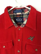 Vintage Woolrich Men's Shirts Button Front Corduroy Long Sleeve Red Size L