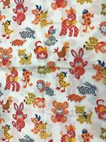 Vintage Cute Patterned Animals New Old Stock Material Quilting Crafting Fabric
