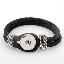 ANDANTE Leder ARMBAND 1 Chunk Button Druckknopf Chunks (23 cm) Schwarz #4152
