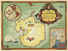 Early Midcentury Wall Map Byrd Antarctic Expedition Home School Office Poster