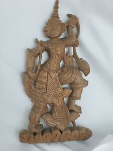 Excellent vintage Thai wood carving, great details, 10""