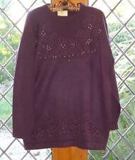 Amari, ladies purple beaded, long sleeved jumper, size 18