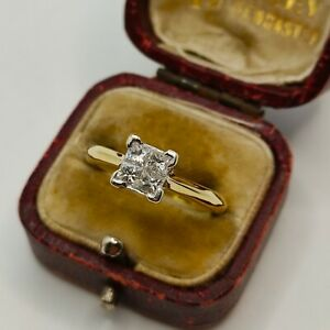 18ct Yellow Gold Princess Cut Diamond Illusion Set Cluster Ring ( Solitaire)