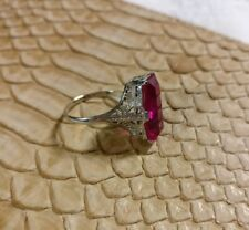 ANTIQUE ART DECO 14K WHITE GOLD FILIGREE EMERALD CUT Lab RUBY RING~LOVELY!