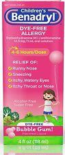 Benadryl Childrens Dye-Free Allergy Liquid, Bubble Gum 4 oz
