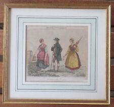 Gravure aquarellée XIX costumes des Vosges Louis Philippe 1835 - Alsace Loraine