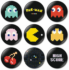 9 x Pac Man 32mm BUTTON PIN BADGES Pac-Man Arcade Game Atari Namco Pacman