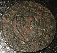 Medieval French Counter Shield Jeton Token Ave Maria Gracia Dei Rare Coin