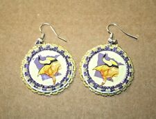 Beadwook Earrings - VIKINGS - Purple & Gold - Very Nice Condition!