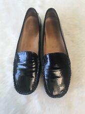 Ladies Stuart Weitzman Black Patent Leather Driving Loafers Size 9.5 Shoes Flats