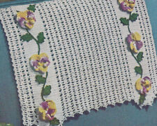 Vintage Crochet Pattern Pansy Grape Applique Chair Set