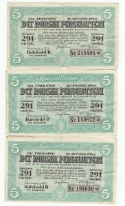 NORWAY: Lot 3  Lottery tickets 1942.