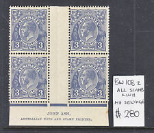 KGV 3d BLUE SM WMK PERF13.5 IMPRINT BLOCK OF 4  BW 108z    MUH/MH