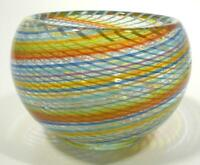 HAND BLOWN GLASS VASE, DIRWOOD, COMPLEX RETICELLO CANE DESIGN, RAINBOW COLORS